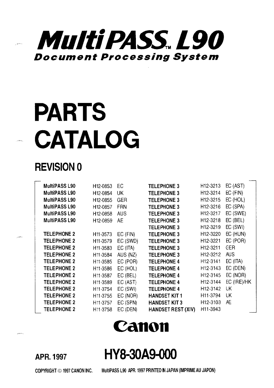 Canon FAX FP-L90 MultiPass Parts Catalog Manual-1